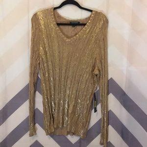 Ralph Lauren Liquid gold V-neck sweater